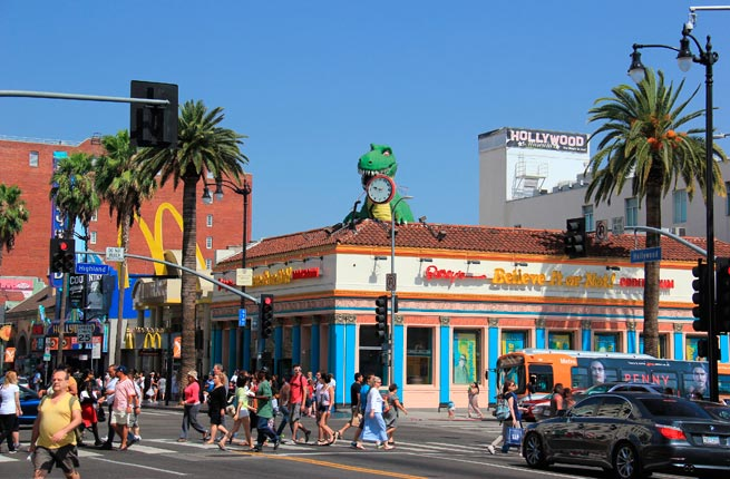 Los Angeles, California - May 19, 2014: Hollywood and Highland Intersection with Ripley's Believe It or Not at the corner and other stores in Los Angeles, California